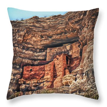American Indian Cliff Dwelling  ... Throw Pillow by Chuck Caramella