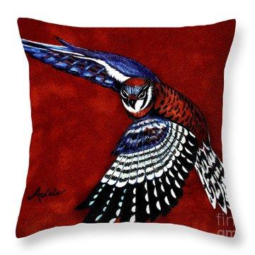 American Kestrel Throw Pillow by Adele Moscaritolo