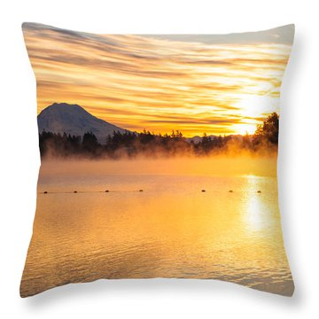American Lake Misty Sunrise Throw Pillow