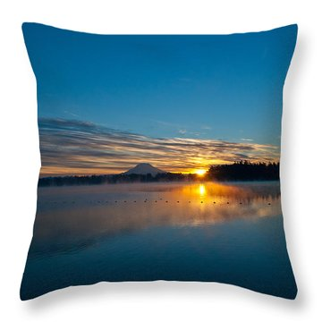 American Lake Sunrise Throw Pillow by Tikvah's Hope