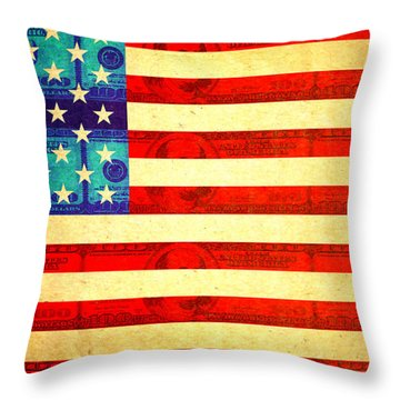 American Money Flag Throw Pillow