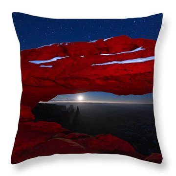 Throw Pillow featuring the photograph American Moonrise by Dustin  LeFevre