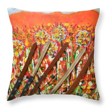 American Mornin' Flower Garden Throw Pillow