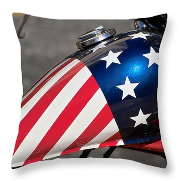 Throw Pillow featuring the photograph American Motorcycle by Gary Dean Mercer Clark