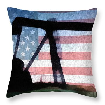 American Oil Rig Throw Pillow by Dan Sproul