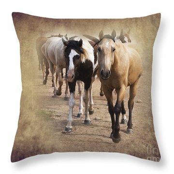 American Quarter Horse Herd Throw Pillow by Betty LaRue