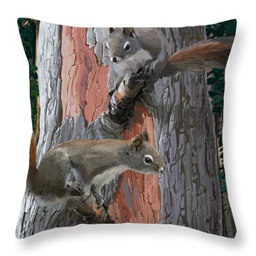 American Red Squirrels Throw Pillow