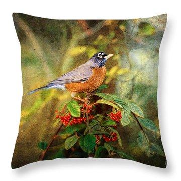 American Robin - Harbinger Of Spring Throw Pillow by Lianne Schneider