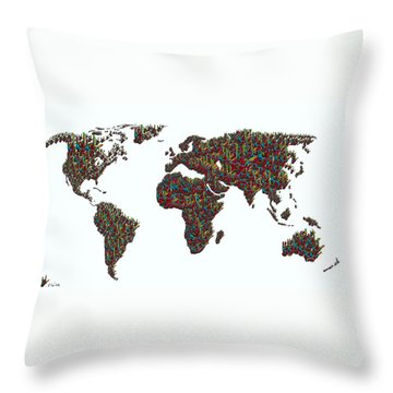 American Sign Language ... I Love You World Map  Throw Pillow by Eloise Schneider