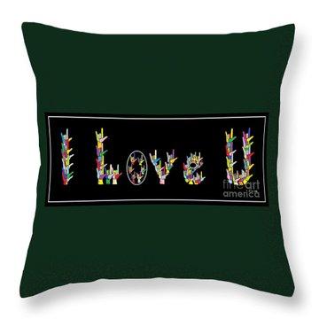 American Sign Language I Love U   Throw Pillow by Eloise Schneider