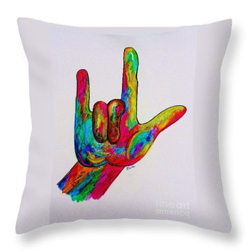 American Sign Language I Love You Throw Pillow