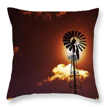 American Windmill Throw Pillow by Marco Oliveira