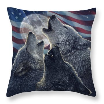 Wolf Trinity America Throw Pillow