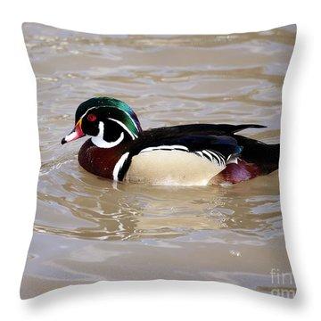 American Wood Duck Throw Pillow