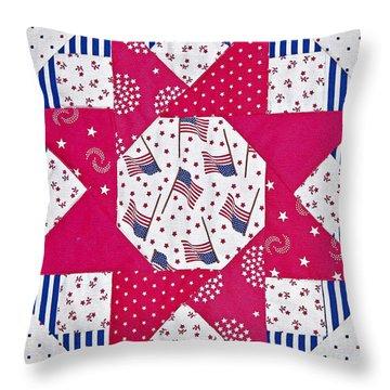 Americana Quilt Block Design Art Prints Throw Pillow