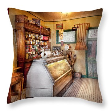 Americana - Store - At The Local Grocers Throw Pillow by Mike Savad