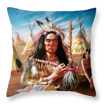 Americans Throw Pillow by Adrian Cherterman