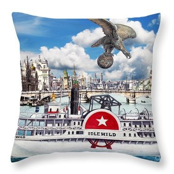 Americans In Paris 1900 Collage Throw Pillow