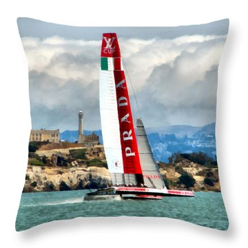America's Cup And Alcatraz Ll Throw Pillow by Michelle Calkins