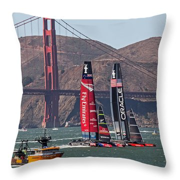 Americas Cup At The Gate Throw Pillow