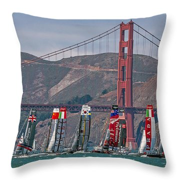 Americas Cup Catamarans At The Golden Gate Throw Pillow