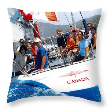Americas Cup Racing At St. Martin Throw Pillow