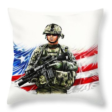 Americas Guardian Angel Throw Pillow by Andrew Read