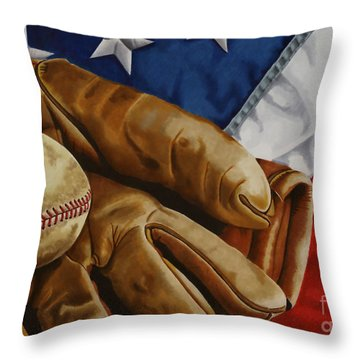 America's Pastime Throw Pillow