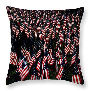 Throw Pillow featuring the photograph Field Of Flags - Sturbridge Mass. by Jacqueline M Lewis