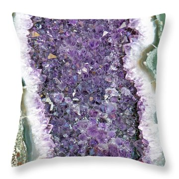 Amethyst Geode Throw Pillow by Tikvah's Hope