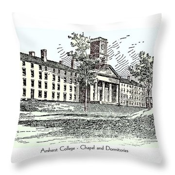 Amherst College - Chapel And Dormitories Throw Pillow