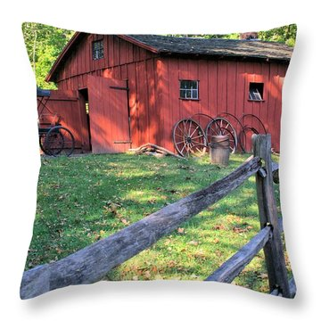 Amish Barn Along A Fenceline Throw Pillow