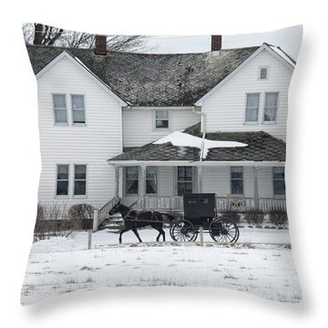 Amish Buggy And Amish House Throw Pillow