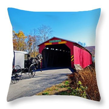 Amish Buggy Crossing Throw Pillow