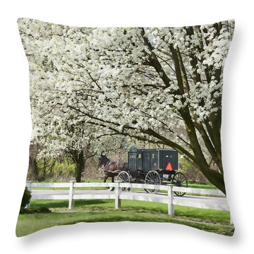 Amish Buggy Fowering Tree Throw Pillow