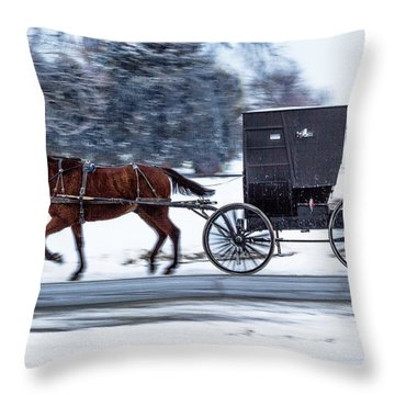 Amish Buggy In Winter Throw Pillow