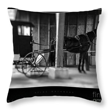 Amish Buggy Parking Throw Pillow