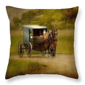 Throw Pillow featuring the photograph Amish Buggy Ride by Dyle   Warren