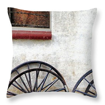 Amish Buggy Wheels Throw Pillow