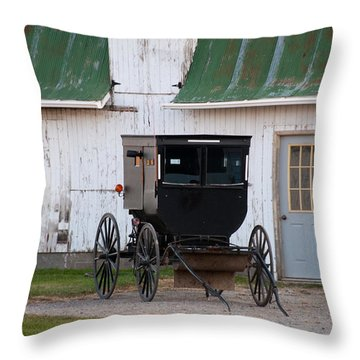 Amish Buggy White Barn Throw Pillow