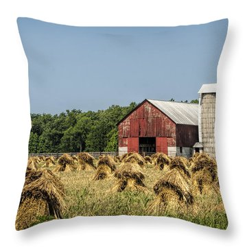 Amish Country Wheat Stacks And Barn Throw Pillow by Kathy Clark
