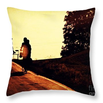 Amish Family Cycles Into Sunset Throw Pillow by Beth Ferris Sale