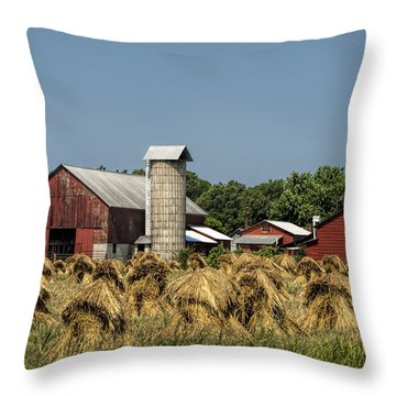 Amish Farm Wheat Stack Harvest Throw Pillow by Kathy Clark