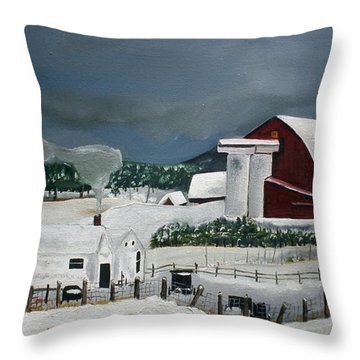 Amish Farm - Winter - Michigan Throw Pillow