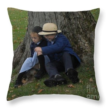 Amish Kids Throw Pillow by R A W M