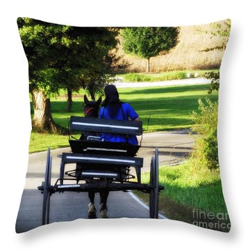 Amish Lady #2 Throw Pillow