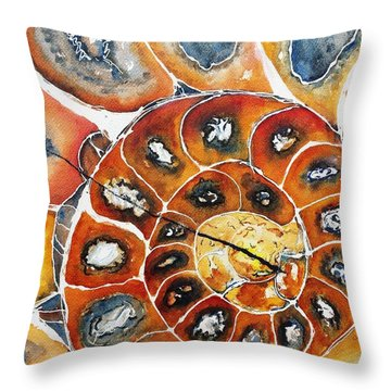 Ammonite Fossil Shell Throw Pillow