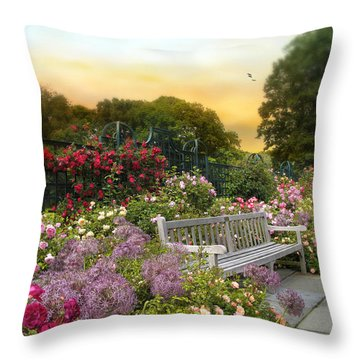 Among The Roses Throw Pillow by Jessica Jenney