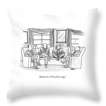 Among Three Other Men With Their Legs Crossed Throw Pillow