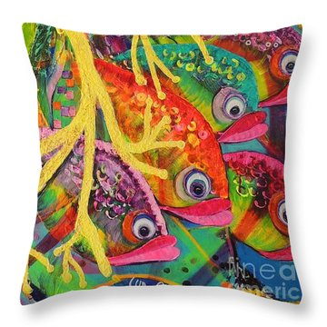 Throw Pillow featuring the painting Amongst The Coral by Lyn Olsen